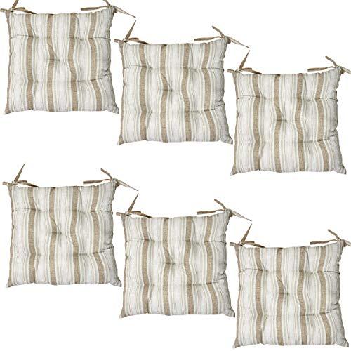 Viste tu hogar Pack 6 Cojines para Silla, 45X45 CM, Relleno de Algodón con Diseño de Rayas, Ideal para la Decoración de Cocina y Sala, Color Marrón, Fabricado en España