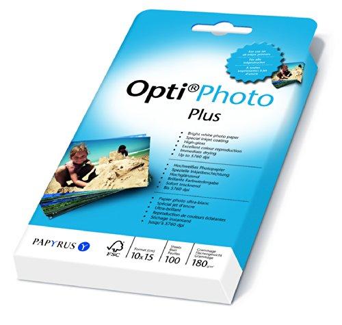 Papyrus 88081854 Fotopapier Opti Photo Plus: 10x15 cm, 180 g/m², 100 Blatt, hochweiß, hochglänzend, Sofort Trocken, für Tintenstrahldrucker