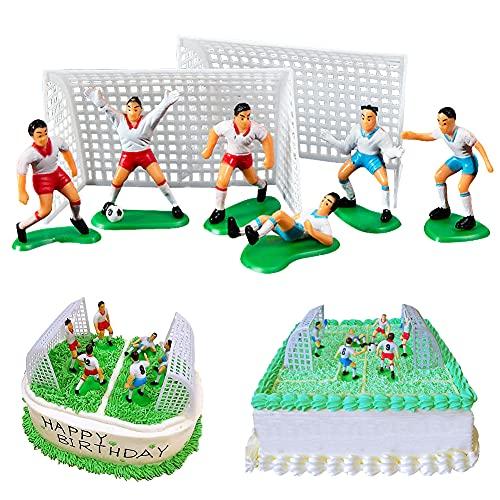 BESTZY Jugador de Fútbol Cake Topper Figure en Miniatura Modelo Decoración para Tartas de Fútbol Figuras Cupcakes Topper Fútbol Cumpleaños Fiesta Temática 8 Piezas