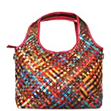 Womens Colorful Woven Shoulder Bag Genuine Leather Hobo Tote CrossBody Handbags (Colorful-9288tb3)