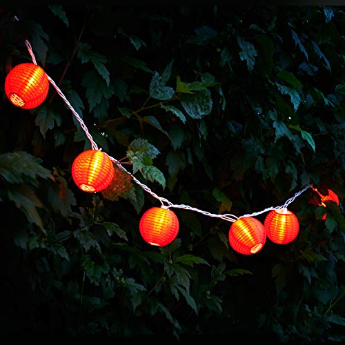 Red Lantern String Lights - 10 Nylon Hanging Mini Lanterns with Warm White Bulbs, 7 Feet Long, Waterproof for Indoor/Outdoor Lighting, Plug in, Connect up to 25 Strands