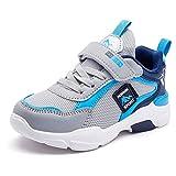 Zapatillas Running Niño 32EU Zapatos Deportes Niña Deportivas Zapatillas de Gimnasia Muchacho Casual Zapatillas de Correr Chico Zapatillas de Tenis Fitness Sneakers Unisex Ligeras Gris Azul