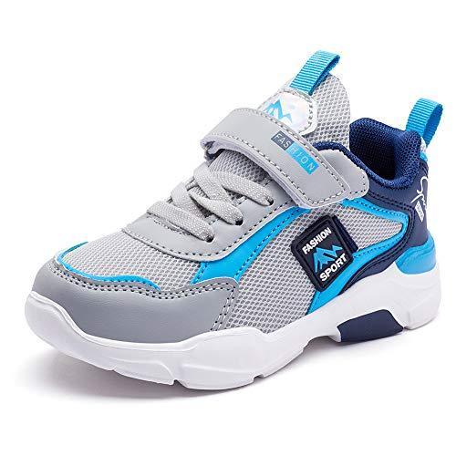 Mitudidi Zapatillas de deporte unisex para niños, antideslizantes, cómodas, transpirables, ligeras, para correr, para niñas y niños, color Azul, talla 31 EU