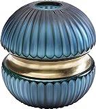 Questo vaso sferico in vetro con un taglio opaco e un anello decorativo in ottone è una vera regina di bellezza Un vaso particolare: ogni esemplare è realizzato artigianalmente Questo vaso mette in scena ottimamente una bella rosa singola o una peoni...