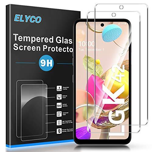 ELYCO Protector de Pantalla para LG K42 [2 Piezas], [Alta Definicion] 9H Dureza Anti-Caída/Anti-Rasguños Sin Burbujas Cristal Templado Vidrio Templado para LG K42