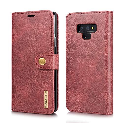 xinyunew Schutzhülle Samsung Galaxy Note 9 Hülle Phone Hülle 2 in 1 Lederhülle Rot Echtleder Hülle Leder Tasche Flip Cover für Original Samsung Galaxy Note 9 - Wallet Hülle
