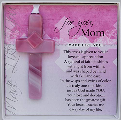 Handmade Glass Cross for Mother with Poem- Gift for Mom on Christmas, Mother's Day, Birthday