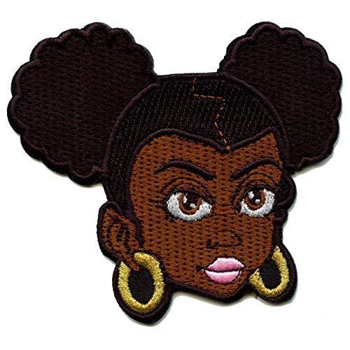Afro Puff Girl Patch Hair Style Face Embroidered Iron On
