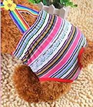 Cute Pet Costume Cute Dog Cotton Stripe Slacks Tighten Anti-Harassment Physiological Underwear Pants Red Stripes