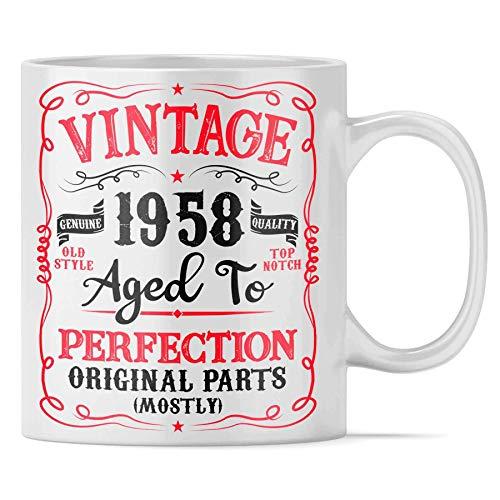 Ceramic Mug 62 Años Envejecido A La Perfección 1958 62A Taza De Café Duradera Oficina En Casa Unisex Taza De Cerámica 330 Ml Cerámica Personalizada Blanca Taza De Porcelana Única N