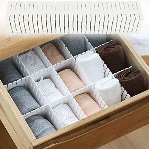 Divisor de cajón ajustable de 32 piezas, divisor de cajón de plástico organizador de compartimento de rejilla de cajón para armario, ropa interior, calcetines, corbatas, blanco (37,2x7 cm)