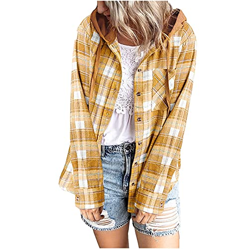 Button Down Blouse for Women Casual Fashion Plaid Hoodie Cardigan Soft Loose Long Sleeve Hooded Tops Yellow