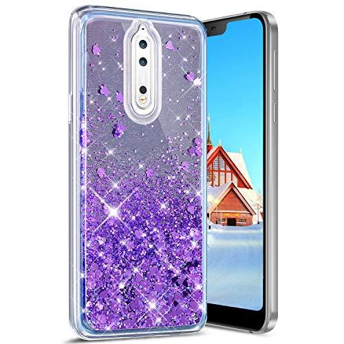 Robinsoni Cover per Nokia 8 Custodia Flessibile Nokia 8 Case Silicone TPU Specchio Caso Glitter Liquid Sabbie Sabbie Mobili Case Antiurto Case Bumper Protettiva Cover,Viola