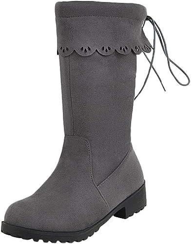 ZHRUI Chaussures Bottes Femme Chaussures Tout-Aller Bottes d'hiver Bottines Bottes Courtes Chaussures Femme Plateau Talon épais Antidérapant Pointe Ronde Aide (Couleuré   gris, Taille   39 EU)