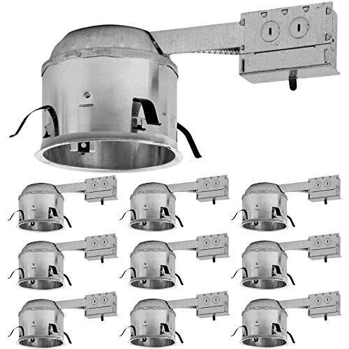 6 inch Shallow LED Remodel Can, Slim Design, Air Tight IC Housing Recessed Lighting, Pot Light, High Hat, UL Listed, Title 24 Certified, TP24 (10 Pack)