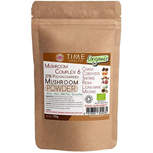 Mushroom Complex 6 Organic – HIGH Strength 30% Polysaccharides - Chaga, Cordyceps, Shiitake, Reishi, Lions Mane, Maitake - UK Manufactured (100g Powder Pouch)