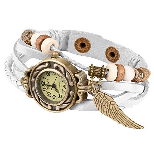 Taffstyle Damen-Armbanduhr Analog Quarz mit Leder-Armband Geflochten Charms Anhänger Uhr Retro Vintage Flügel Gold Weiß