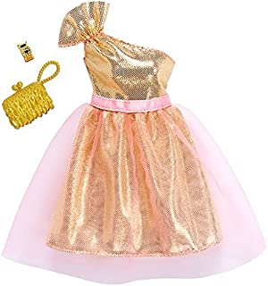 Barbie Fashions Complete Look Gold Gown with Pink Tulle Set