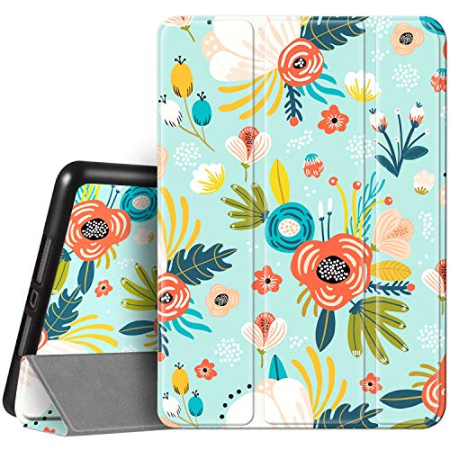 Hi Space iPad 8th / 7th Generation Case iPad 10.2 Case with Pencil Holder 2020 2019, Green Plant Flower Floral Protective Shockproof Smart Cover Auto Sleep Wake for A2270 A2428 A2429 A2197 A2198 A2200