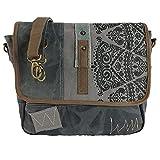 Sunsa Damen Umhängetasche/Messenger Tasche aus grauem Canvas. Große Crossbody Bag Geschenkideen für Frauen/Mädchen, nachhaltige Produkte 52508