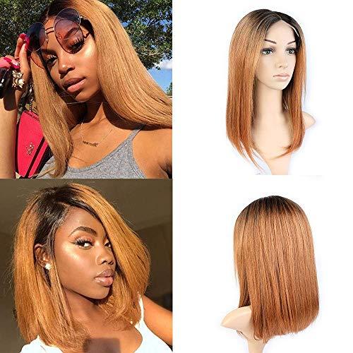 BLISSHAIR Bob Lace Front Perücke, 9A Brasilien Ombre Remy Hair Lace Front Wigs Human Hair Echthaar Straight Haarverlängerung Wig 14' OT1B/30