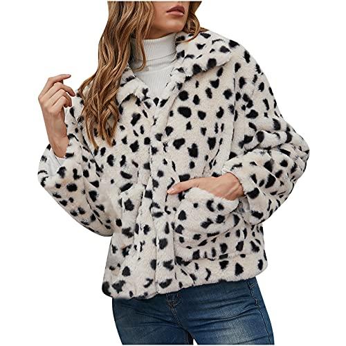 ADOSSAC Femmes Mode Élégant Manteaux Hiver Encapuchonné Nouveau Fausse Fourrure Peluche Veste Chaud Épais Vêtements d'extérieur Outwear imprimé léopard Coat Hooded