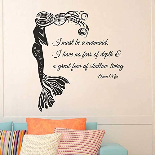 """BATTOO Wall Decal Quote I Must Be A Mermaid- Mermaid Wall Decal Quote- Anais Nin Quote Wall Decal Baby Teens Room Bedroom Mermaid Decal(Black, 22""""h x20""""w)"""