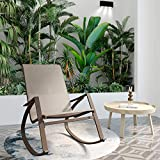 Garden Outdoor Sun Lounge, Rocking Chair High Back Patio Lounge Chair, Home Office Leisure Swing Chair with Metal Frame for Balcony Poolside Backyard
