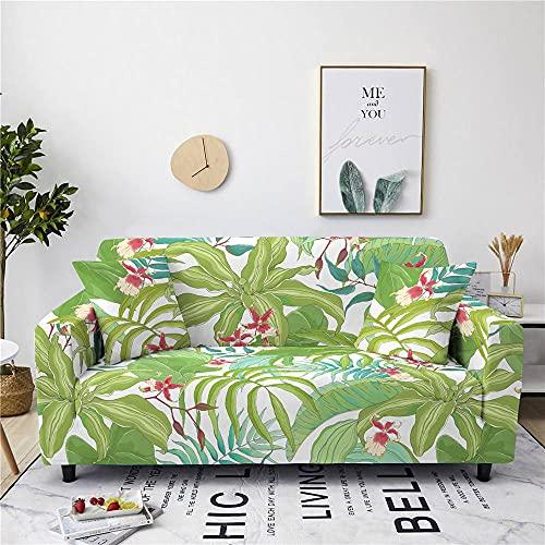 Funda Sofas 2 y 3 Plazas Hojas Verde Esmeralda Fundas para Sofa con Diseño Elegante Universal,Cubre Sofa Ajustables,Fundas Sofa Elasticas,Funda de Sofa Chaise Longue,Protector Cubierta para Sofá
