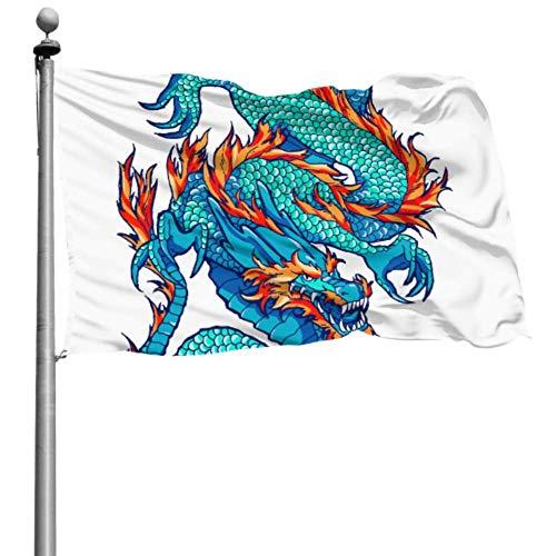 YANXIE Flagge für Raumdekoration Traditionelle asiatische Drachen Wanddekoration Flagge Dekorative Gartenflaggen 90x150cm Polyester mit Ösen Dekorationen Innen/Außen