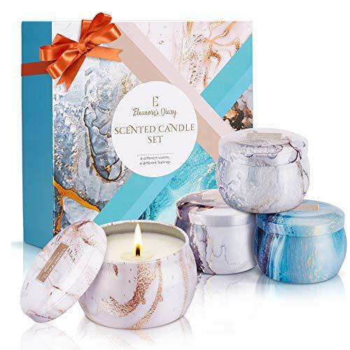 Duftkerze Set, Eleanore's Diary Natürliches Sojawachs Kerzen Set (4 Pack), Aroma Kerzen für Bad und Yoga, Duftkerzen Geschenksets für Frauen, Valentinstag, Geburtstag, Muttertag, Weihnachten