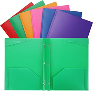 Plastic Folders with Pockets Heavy Duty 2 Pocket Plastic Folders Letter Size for School Work and Home Assorted Colors Plastic-Folders-with-Prongs-and-Pockets 6PCS