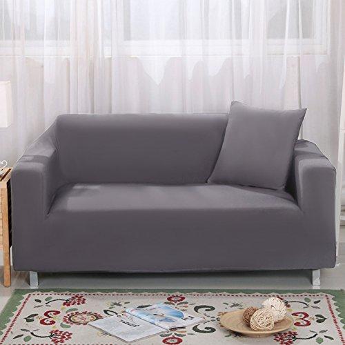 Bezug für 2-Sitzer-Sofa 7 Farben erhältlich, vollständig aus Stretch, Schonbezug, Elastisch, aus weichem Stoff, für Couch, Sofa grau