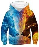 GLUDEAR Kids Unisex Galaxy Animals Sweatshirts Pocket Pullover Hoodies 4-13Y,Ice&Fire Wolf,8-11 Years