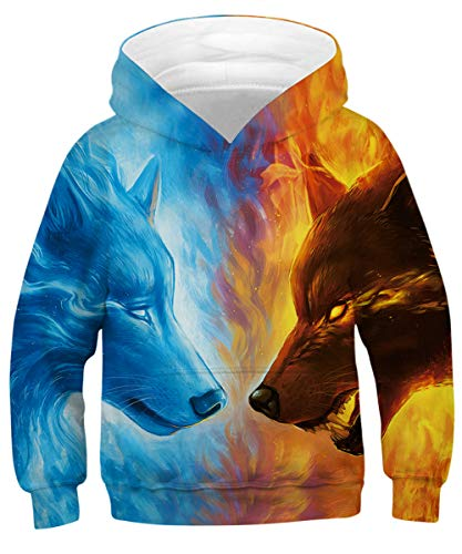 GLUDEAR Kids Unisex Galaxy Animals Sweatshirts Pocket Pullover Hoodies 4-13Y,Ice&Fire Wolf,8-11 Years