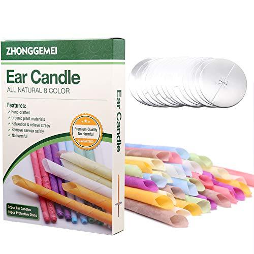 Bougies pour les oreilles 32 pcs, Kit Bougie auriculaire pour enlever la cire à l'oreille avec cire d'abeille organique naturelle (32 PCS)
