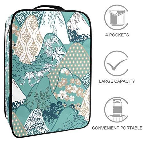 TIZORAX Mountains Traditional Geometric Kimono PatternTravel opbergtas schoenentas opbergtas, multifunctionele draagbare opbergdoos schoenentas