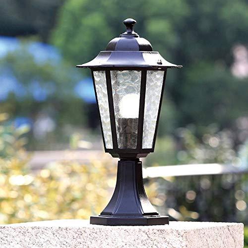 WHYA Garten Außenpatio Tür Säule Lampe Außen Schwarz E27 Metall, Glas, Wasserdicht Rasen-Licht-Weinlese-Zaun Laterne Pollerleuchte Park Dekoration Eingang Stehleuchte