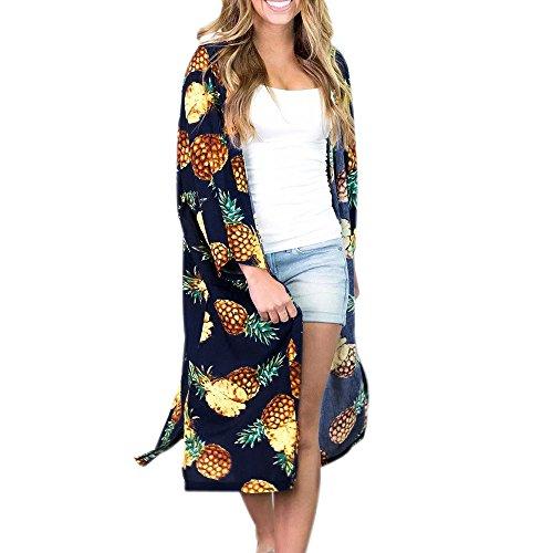 JERFER Damen Ananas Print böhmischen Kimono Cardigans Bluse bedeckt Ups Cardigan