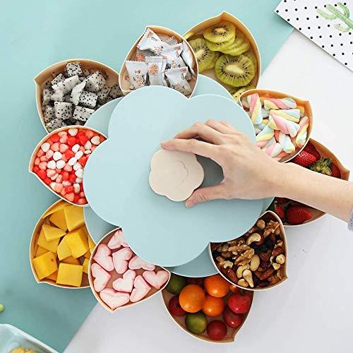 Doppelschicht Süßigkeiten- und Nuss-Serviertablett, Blumen Drehbares Snack-Serviertablett, Aufbewahrungsbox für Lebensmittel, Obstschachtel, Trockenobstbehälter(Blue)