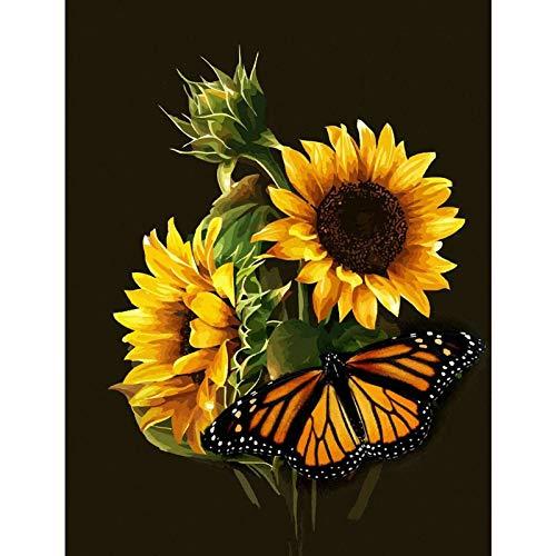 UM UPMALL 5D Diamant-Painting-Kits für Erwachsene, Kinder. Bürodekoration, Zimmer, Haus, Geschenk für sie Ihn Sunflower 11.8x15.7 in