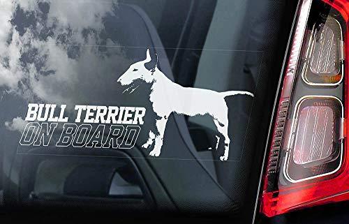 43LenaJon Transparenter Aufkleber für Autofenster, Motiv: Bullterrier on Board, Motiv: Englischer Bulldogge, hochwertig, einzigartiges Vinyl-Design.