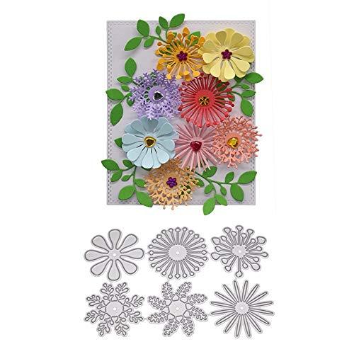 6 troqueles de corte de flores, plantillas de corte en relieve 3D para álbumes de recortes, tarjetas, álbumes de recortes, manualidades