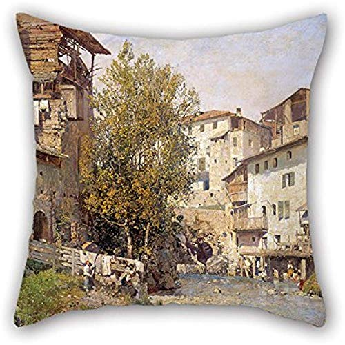 La pintura al óleong Mariano Barbas & Atilde; & Iexcl; N - Paisaje con un pueblo en las afueras de Roma Funda de almohada de, Decoración, Regalo para sala de juegos, Dormitorio, Sofá, Sofá, Niñas,