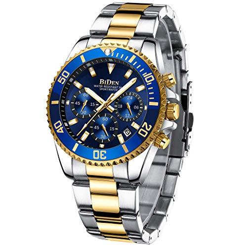 Reloj de Pulsera de Acero Inoxidable para Hombre, cronógrafo Militar, Resistente al Agua, analógico, de Cuarzo, para Hombre, Color Dorado y Azul