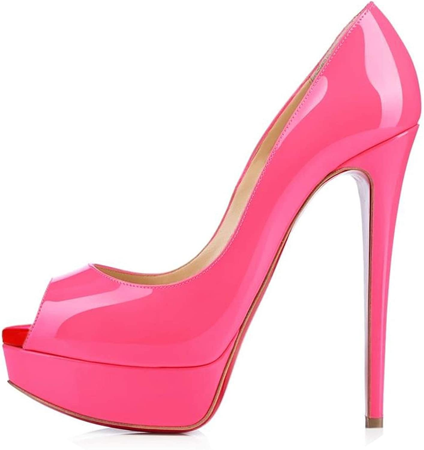 LAIGEDANZI Womens Pumps Leather Wedges Platform Stiletto High Heels Open Toe Sexy Party shoes,pink,8