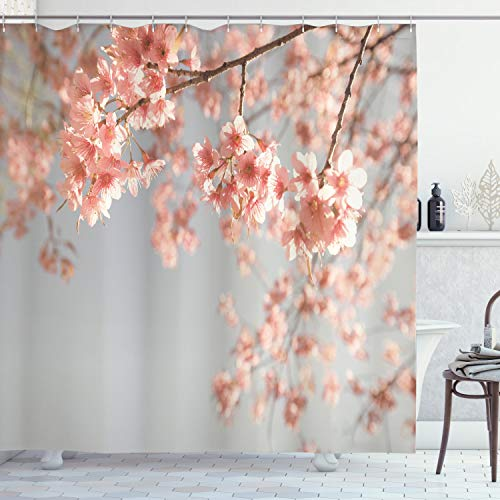 ABAKUHAUS Pfirsich Duschvorhang, Japanischer Sakura-Baum, mit 12 Ringe Set Wasserdicht Stielvoll Modern Farbfest & Schimmel Resistent, 175x220 cm, Korallenrot