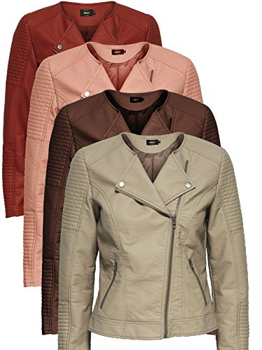 ONLY Damen onlCARLY Faux Leather Jacket CC OTW Jacke, Rosa (Cameo Rose), 40