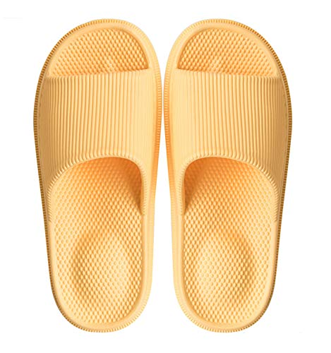 Woman's Man's House Indoor & Outdoor Slippers Anti-Slip Massage Shower Spa Bath Pool Gym Slides Flip Flop Open Toe Comfortable Soft Sandals Casual Shoes Light Weight EVA Platform(Mas/Yellow,36-37)