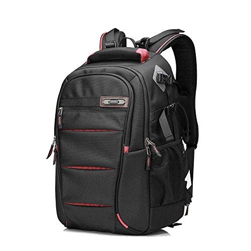 Multifunktions-DSLR-SLR-Kameratasche Reise-Outdoor-Tablet-Laptop-Tasche Wasserdichter, langlebiger Kamera-Rucksack für Sony Canon Nikon Olympus SLR / DSLR Kameras, Objektiv und Zubehör (Red-L)